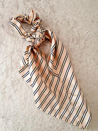 Long Tail Scrunchie Pink Stripes