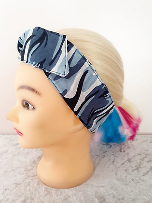 Blue Camoflage Wired Hair Tie