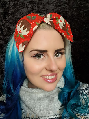 Christmas Pudding on Red Wired Hair Tie