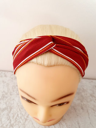 Red with Orange Stripes Elasticated Head Band