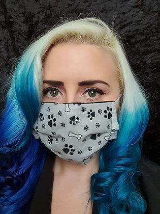 Paw Prints Grey Face Mask
