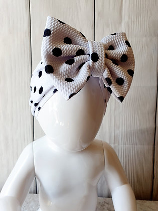 White Polka Head Wrap