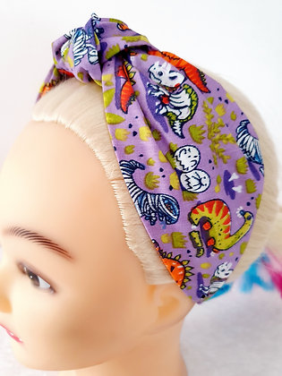 Spooky Dinosaurs on Purple Head Band