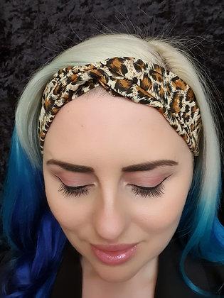 Cream Leopard Elasticated Head Band