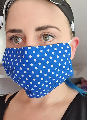 Royal Blue Polka Face Mask
