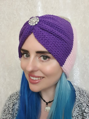 Purple and Pink Double Width Knitted Ear Warmer