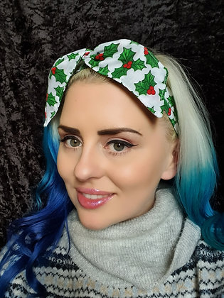 Christmas Holly Wired Hair Tie