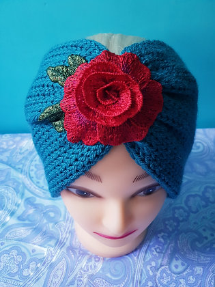 Denim Roses Double Width Knitted Head Band