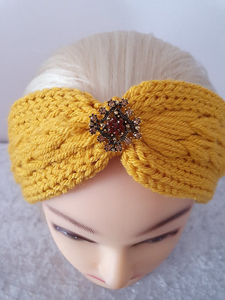 Mustard Pleat Knitted Head Band