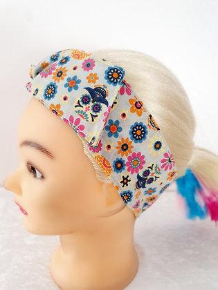 Candy Skulls on Cream Wired Hair Tie