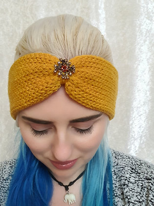 Mustard Knitted Ear Warmer