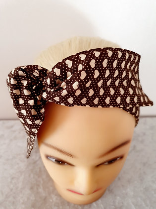 Brown Love Hearts Wired Hair Tie