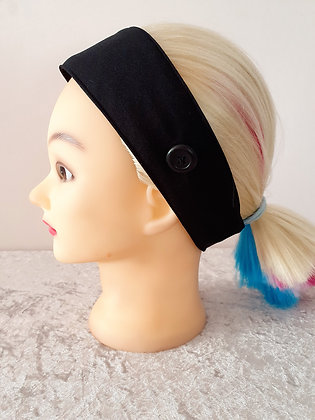 Button Head Band in Plain Black - to hold face masks