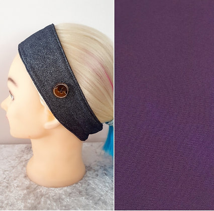 Buttoned Head Band in Purple