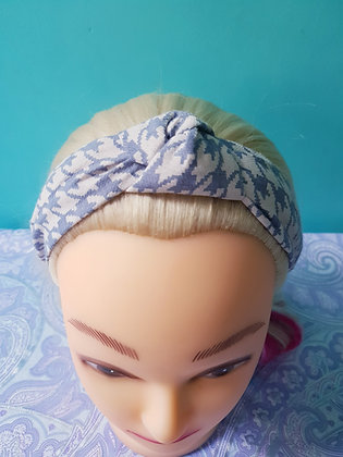 Blue Houndstooth Head Band