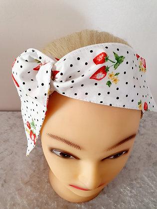 Strawberry Polka Dot Wired Hair Tie