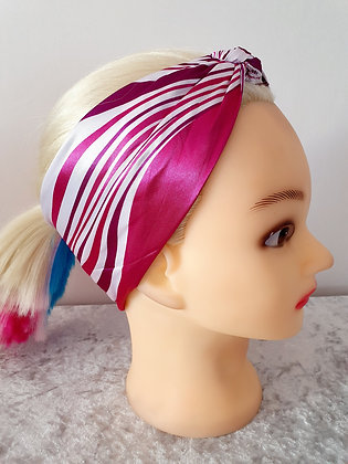 Dark Pink Waves Silk Head Scarf