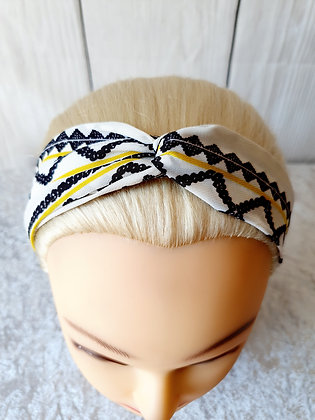 Shapes and Yellow Stripes Elasticated Head Band