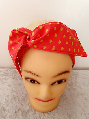 Gold Hearts on Red Wired Hair Tie