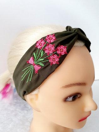 Embroidered Columbine Elasticated Head Band
