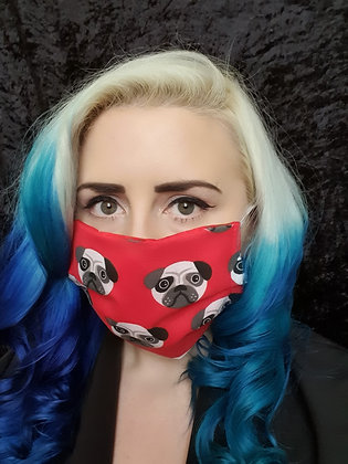 Red Pug Face Mask