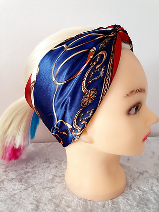 Navy and Red Rodeo Silk Head Scarf