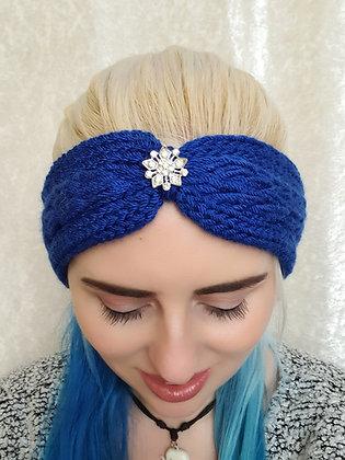 Cobalt Blue Plaited Knitted Ear Warmer