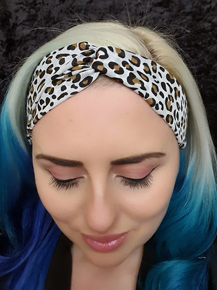 Leopard on White Elasticated Head Band