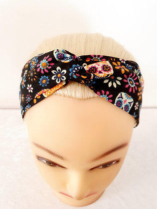 Candy Skulls on Black Elasticated Head Band
