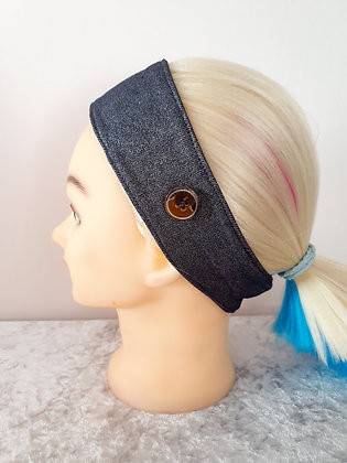 Button Head Band in Glitter Denim - to hold face masks
