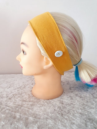 Button Head Band in Mustard - to hold face masks