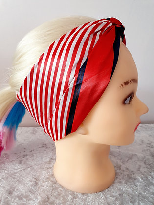 Red Stripe Silk Head Scarf