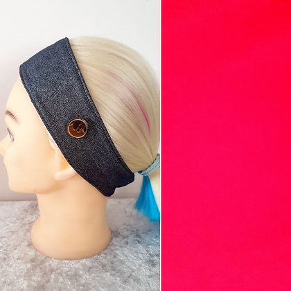 Buttoned Head Band in Bright Red