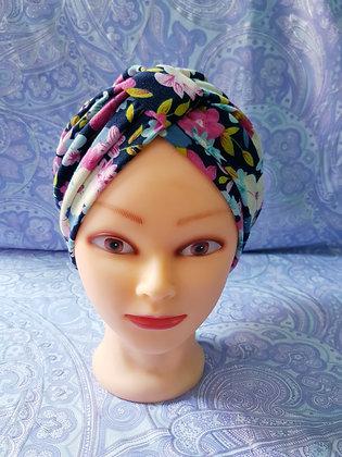 Bright Bloom on Navy Chemo Cap Turban