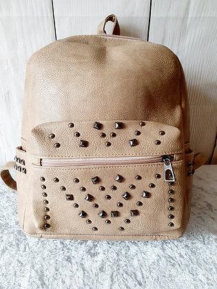 Leather Look Embellished Rucksack in Beige