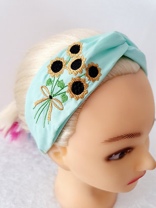 Embroidered Sunflower Elasticated Head Band