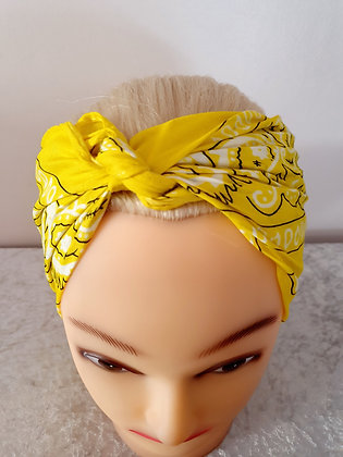 Yellow Paisley Head Scarf