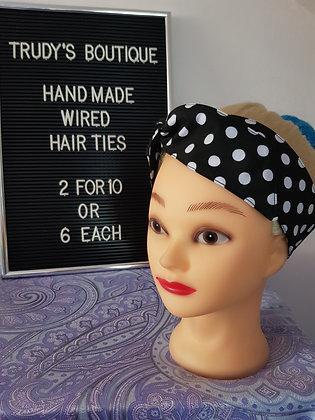 Polka on Black Medium - Wired Hair Tie