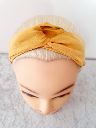 Faux Suede in Mustard Elasticated Head Band