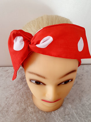 Red Polka Dot Large Wired Hair Tie