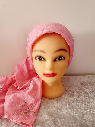 Pink Floral with Glitter Large Head Scarf