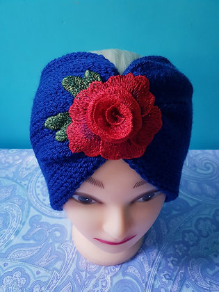 Navy Roses Double Width Knitted Head Band