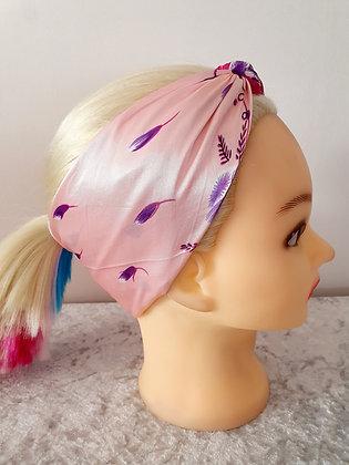 Pink Floral Silk Head Scarf