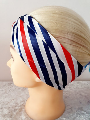 Navy Squares Silk Head Scarf