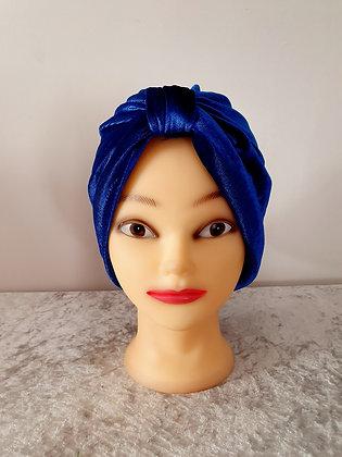 Cobalt Blue Velvet Turban
