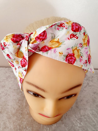 Pink and Lemon Roses Wired Hair Tie