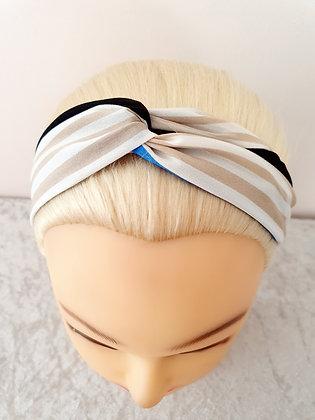 Beige Mix Stripes Elasticated Head Band