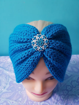 Royal Blue Double Width Knitted Head Band