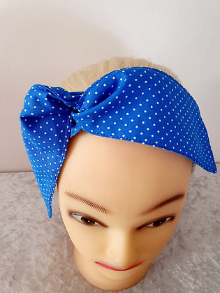 Cobalt Blue Polka Dot Small Wired Hair Tie