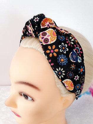Candy Skulls on Black Head Band